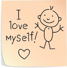 Post-it note with a happy stick figure, heart and the words 'I love myself!'
