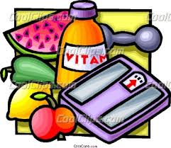 Collection of healthy foods, vitamins and bathroom scales