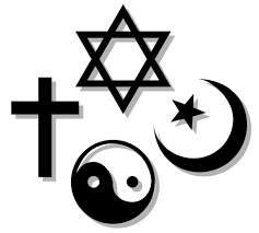 Religious symbols; star of david (Jewish), yin/yang (Taoism), cross (Christianity), star and crescent (Islam)