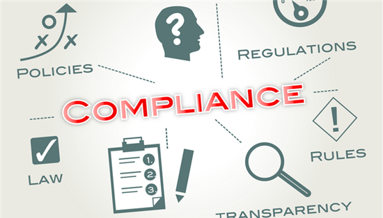 The word COMPLIANCE surrounded by POLICIES, REGULATIONS, LAW, TRANSPARENCY and RULES