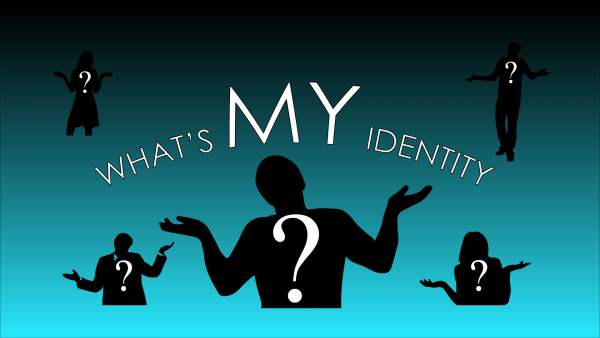 Silhouettes of individuals with question marks on their chests and the words 'What's My Identity?'