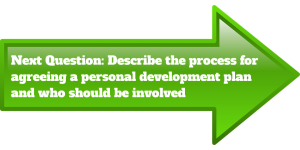 Next Question: Describe the process for agreeing a Personal Development Plan and who should be involved in a green arrow pointing to the right