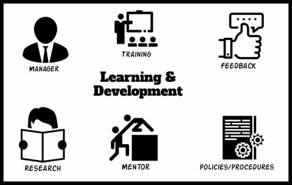 'Learning & Development' in the centre, surrounded by sources. Clockwise from top-left: Manager, Training, Feedback, Research, Mentor, Policies/Procedures