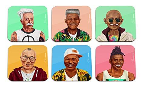 Modernised mugshots of great leaders: Albert Einstein, Nelson Mandela, Mahatma Gandhi, Dalai lama, Martin Luther King and Barack Obama