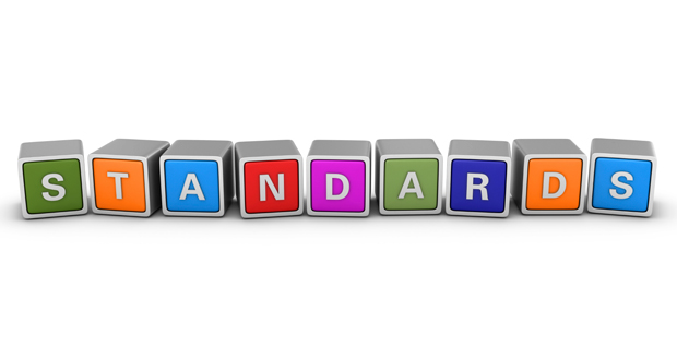 The word 'standard' made out of brightly coloured building blocks