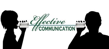 The words 'effective communication' between two silhouettes communicating via a tin can and string