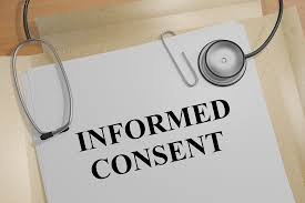 A file with 'informed consent' written on it and a stethoscope resting on top