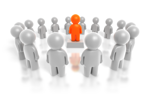 A brightly coloured individual on a pedestal surrounded by a ring of other individuals representing a definition of person centred values