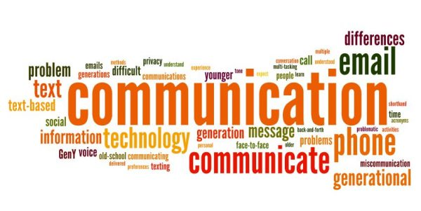 Word cloud with 'COMMUNICATIO' in the middle and surrounded by other related words