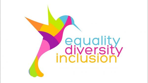 A rainbow-coloured hummingbird accompanied by the words 'equality', 'diversity' and 'inclusion'