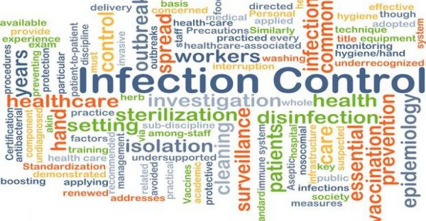 Word cloud related to infection control