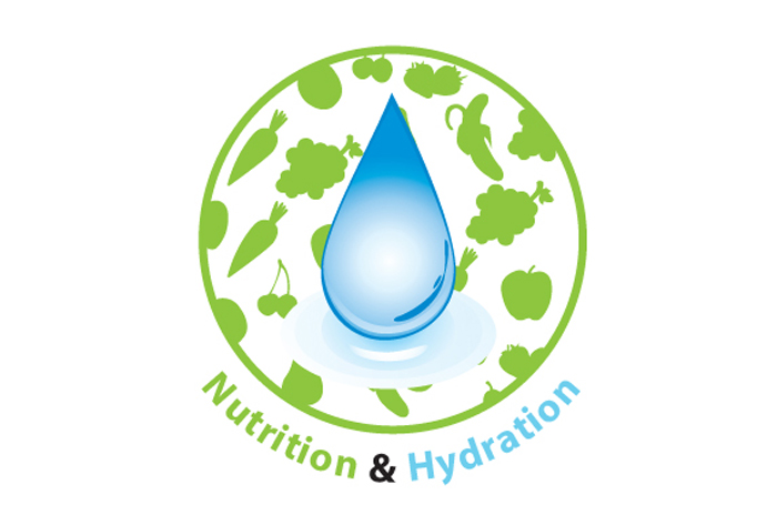 A drop of water inside a circle of foods with the words 'Hydration & Nutrition' below it