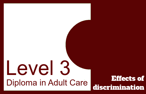 Effects of discrimination - Level 3 Diploma in Adult Care