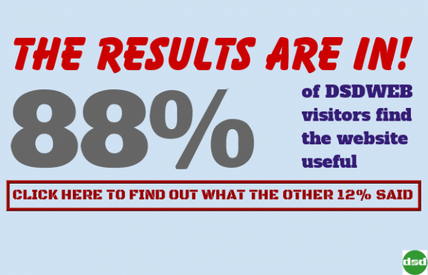 The Results Are In! 88 percent of DSDWEB visitors said they found the website useful