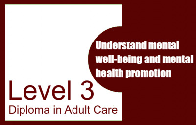Understand mental well-being and mental health promotion - Level 3 Diploma in Adult Care