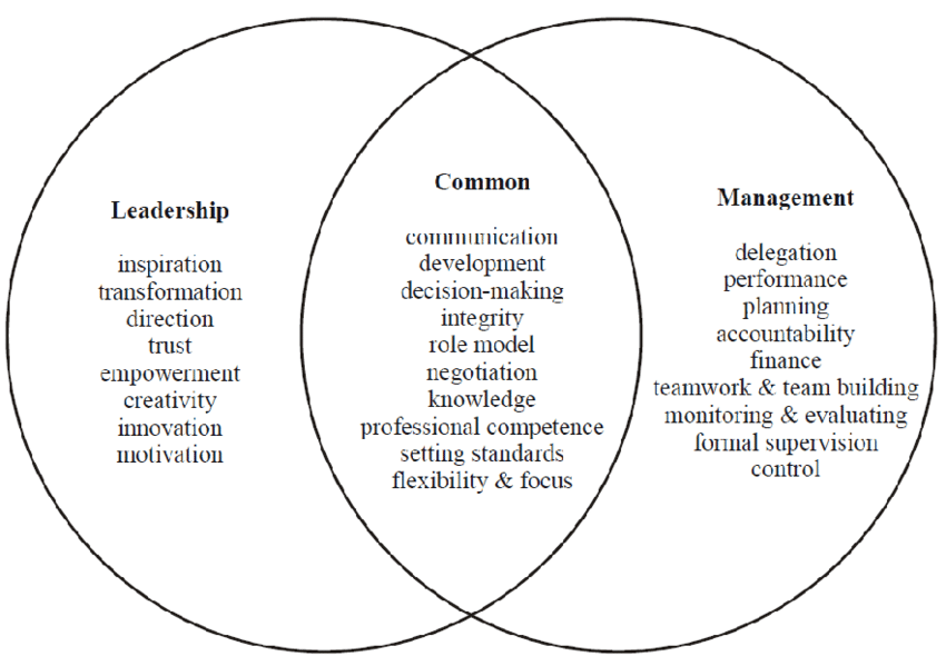 Fig. 2. The Leadership-Management Continuum (Taken from Leadership and Management: A Strategy for the Social Care Workforce, Skills for Care, 2004)