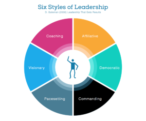David Goleman's 6 Styles of Leadership - Affiliative, Democratic, Commanding, Pacesetting, Visionary, Coaching.