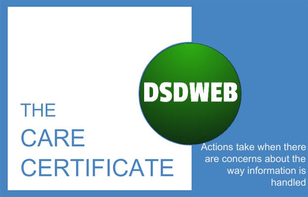 Actions take when there are concerns about the way information is handled - Care Certificate - DSDWEB.