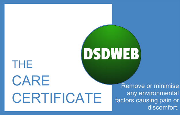 Remove or minimise any environmental factors causing pain or discomfort - Care Certificate - DSDWEB.