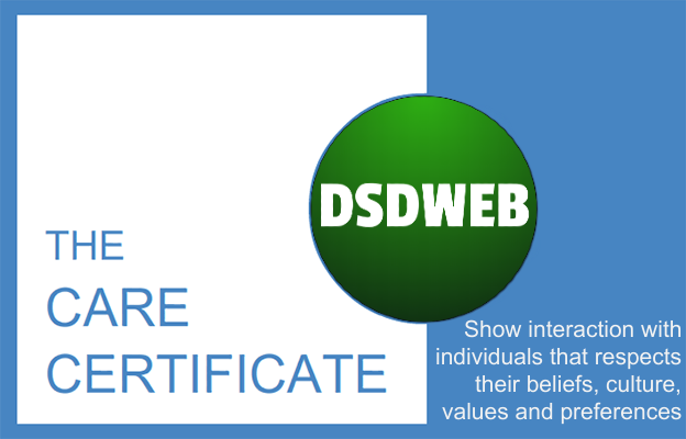 Show interaction with individuals that respects their beliefs, culture, values and preferences - Care Certificate - DSDWEB.