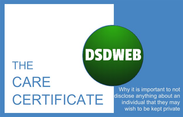 Why it is important to not disclose anything about an individual that they may wish to be kept private - Care Certificate - DSDWEB.