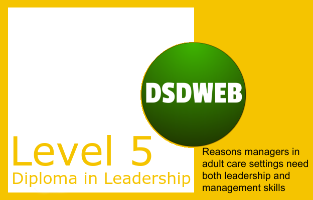 Reasons managers in adult care settings need both leadership and management skills - Level 5 Diploma in Leadership & Management - DSDWEB.