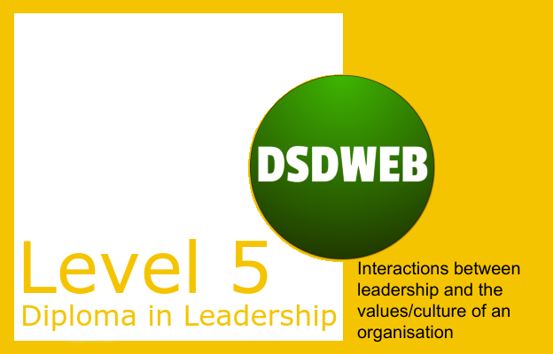 Interactions between leadership and the values/culture of an organisation - Level 5 Diploma in Leadership Management - DSDWEB.