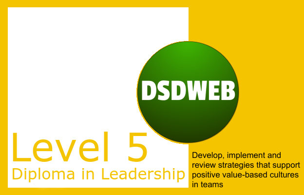 4.4 Develop, implement and review strategies that support positive value-based cultures in teams - Level 5 Diploma in Leadership & Management for Adult Care - DSDWEB.