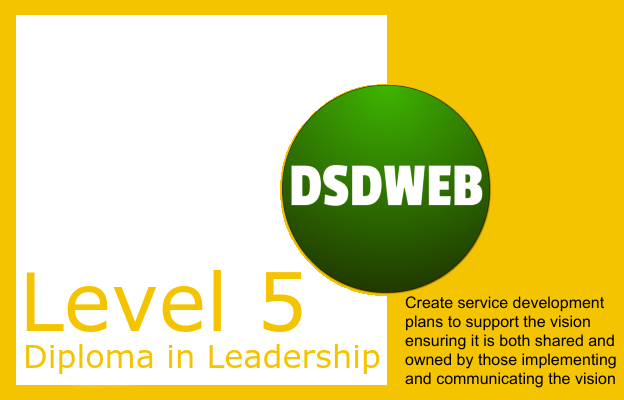 Create service development plans to support the vision ensuring it is both shared and owned by those implementing and communicating the vision - Level 5 Diploma in Leadership & Management for Adult Care - DSDWEB.