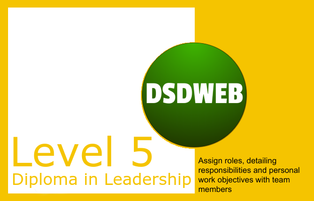 Assign roles, detailing responsibilities and personal work objectives with team members - Level 5 Diploma in Leadership and Management for Adult Care - DSDWEB.