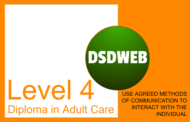 3.2 Use agreed methods of communication to interact with the individual - Level 4 Diploma in Care - DSDWEB.