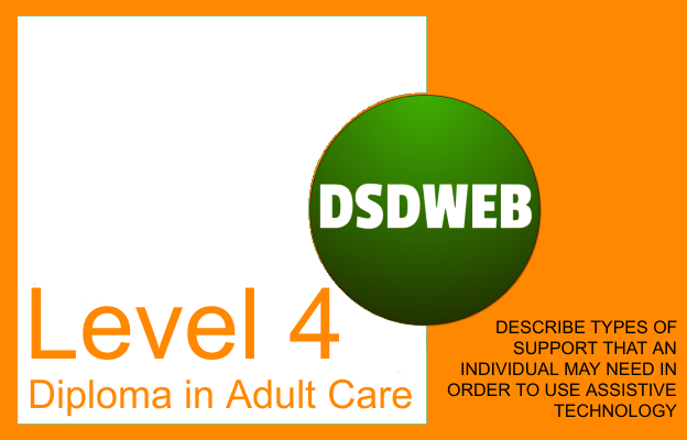 Describe types of support that an individual may need in order to use assistive technology - Level 4 Diploma in Care - DSDWEB.